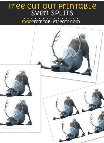 Free Sven Splits Reindeer Cut Out Printable with Dashed Lines - Frozen