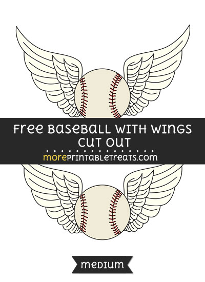Free Baseball With Wings Cut Out - Medium Size Printable