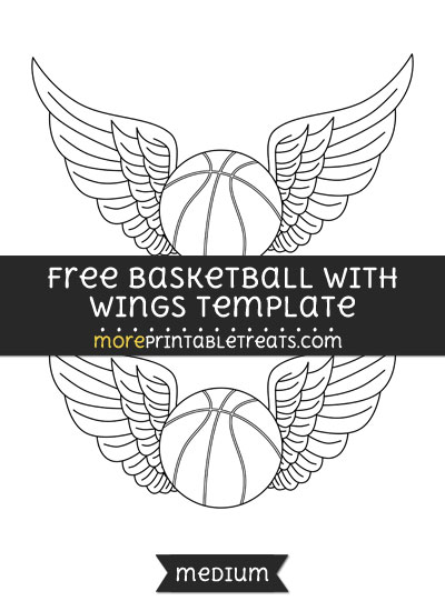 Free Basketball With Wings Template - Medium