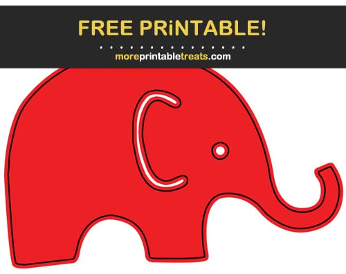 Free Printable Black-Outlined Red Baby Elephant Cut Out