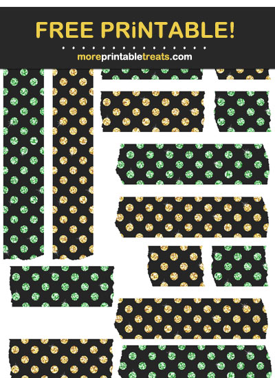 Free Printable Glittery Goldenrod and Emerald Green Washi Tape