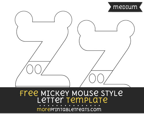 Free Mickey Mouse Style Letter Z Template - Medium