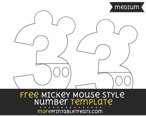 Free Mickey Mouse Style Number 3 Template - Medium