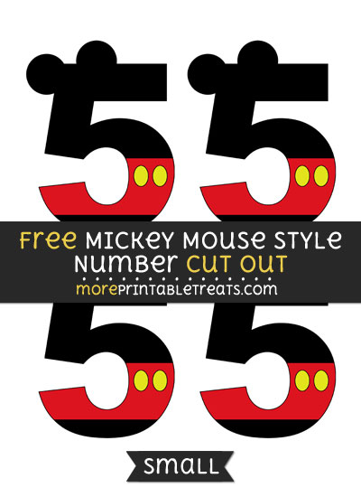 Free Mickey Mouse Style Number 5 Cut Out - Small Size Printable